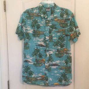 Hang 10 Hawaiian button up collared men's shirt